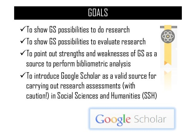 Google Scholar as a research and evaluation tool Slide 3