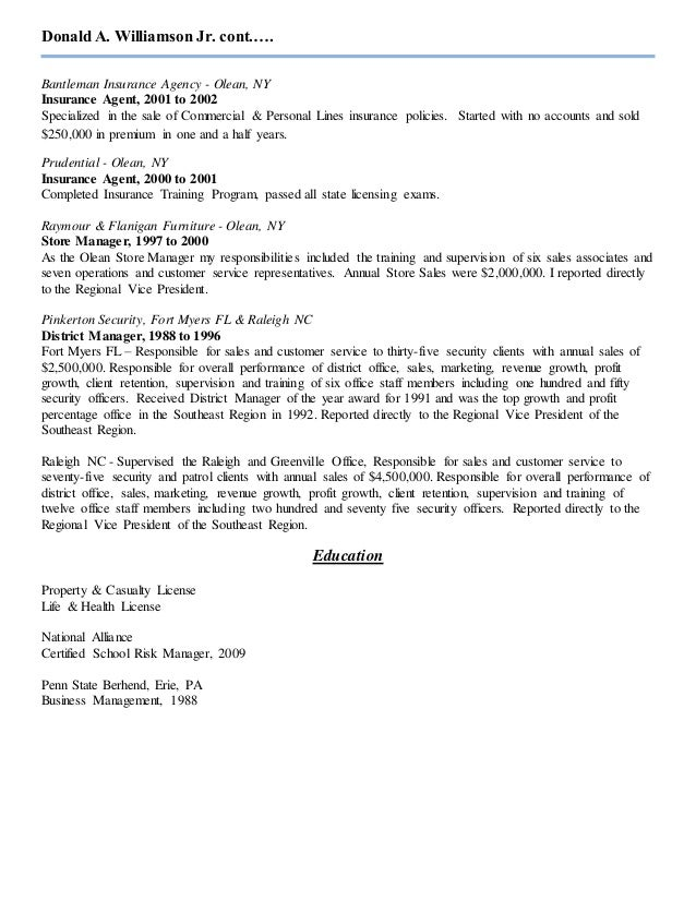 Donald A Williamson Jr Resume Updated Insurance