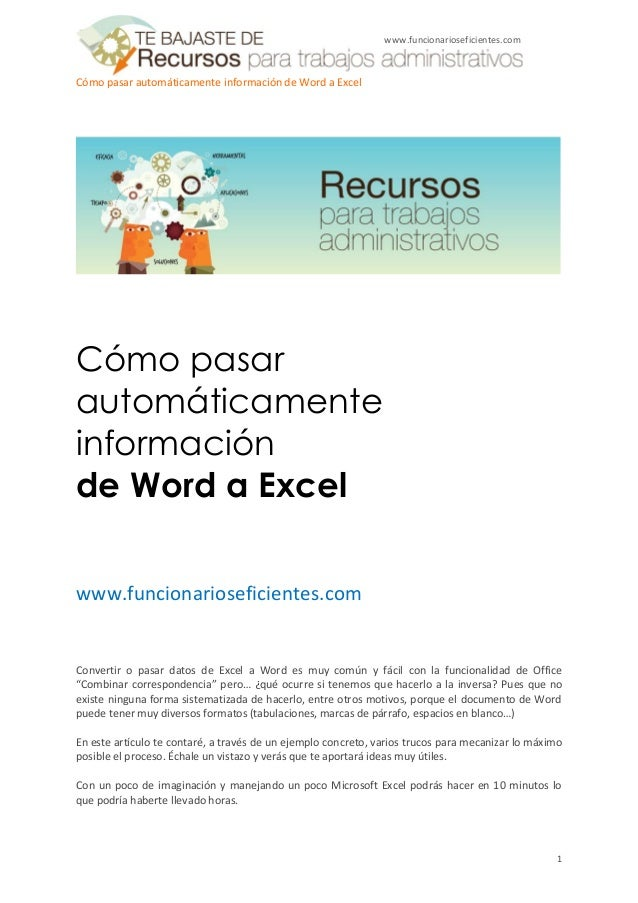 www.funcionarioseficientes.comCómo pasar automáticamente información de Word a ExcelCómo pasarautomáticamenteinformaciónde...