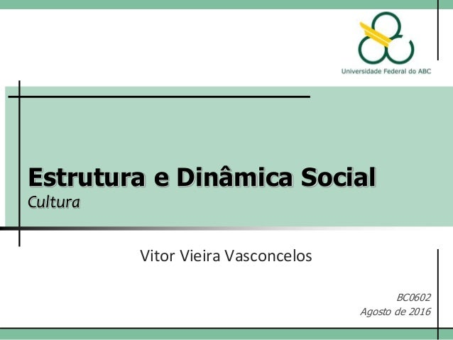 Estrutura e Dinâmica Social Cultura Vitor Vieira Vasconcelos BC0602 Agosto de 2016