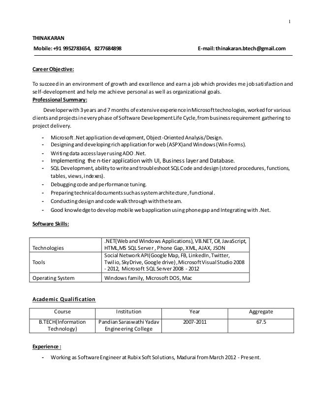 1 THINAKARAN Mobile:+91 9952783654, 8277684898 E-mail: thinakaran.btech@gmail.com Career Objective: To succeed in an envir...