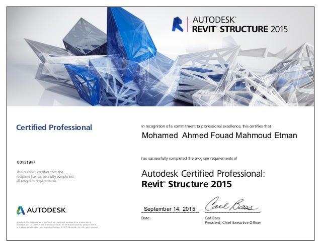 Autodesk Revit Structure 2015 Certified Professional Certificate
