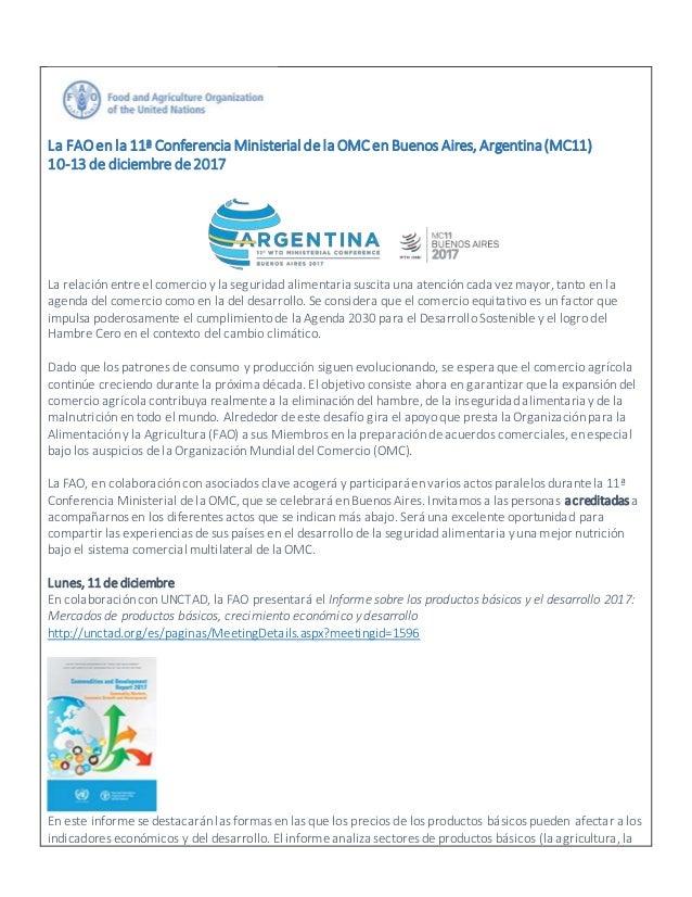 La FAOen la 11� Conferencia Ministerialdela OMCen Buenos Aires, Argentina(MC11) 10-13 de diciembre de2017 La relaci�n entr...