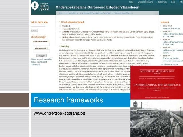 Research frameworkswww.onderzoeksbalans.be