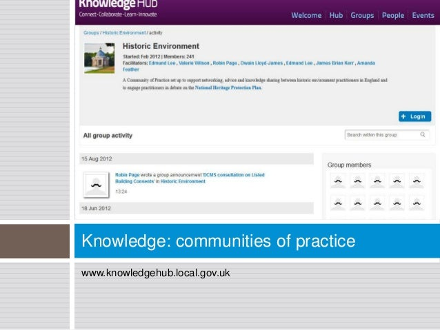 Knowledge: communities of practicewww.knowledgehub.local.gov.uk