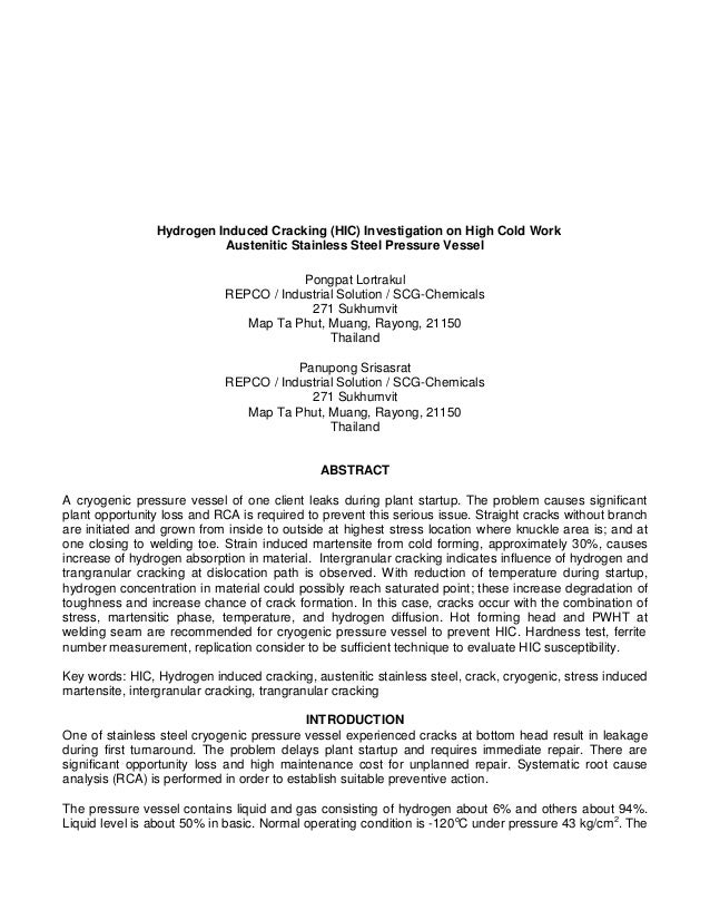 Hydrogen Induced Cracking (HIC) Investigation on High Cold Work Austenitic Stainless Steel Pressure Vessel ...