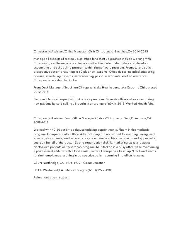 chiropractic - Chiropractic Resume