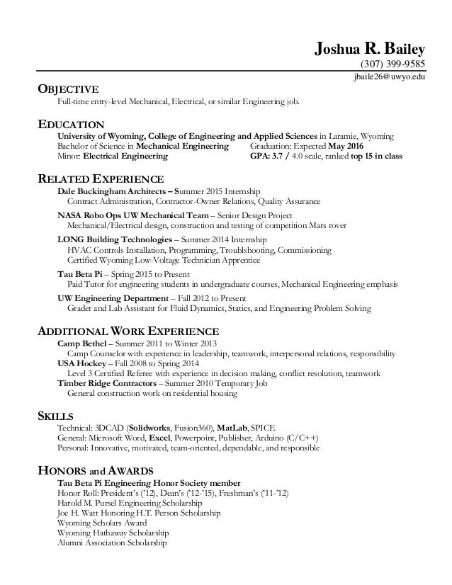 General Resume for Fall 2015 Jobfair