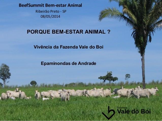 BeefSummit  Bem-‐estar  Animal     Ribeirão  Preto  -‐  SP   08/05/2014         PORQUE BEM-ESTAR A...