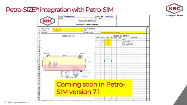 Equipment sizing and costing using Petro-SIM