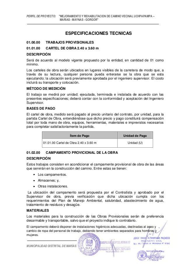 """PERFIL DE PROYECTO: """"MEJORAMIENTO Y REHABILITACION DE CAMINO VECINAL UCHPAPAMPA – MARIAS - MAYNAS - GORGOR"""" MUNICIPALIDAD ..."""