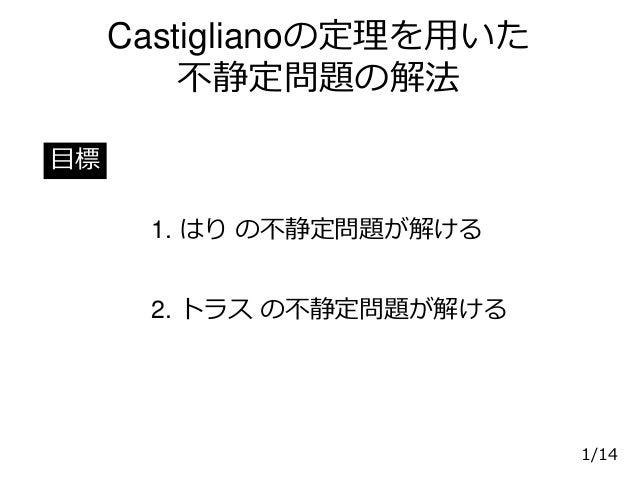 Castiglianoの定理を用いた 不静定問題の解法 1. はり の不静定問題が解ける 目標 1/14 2. トラス の不静定問題が解ける