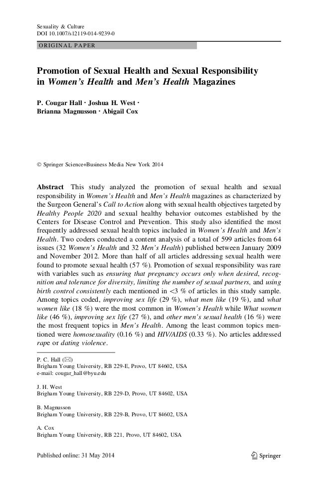 ORIGINAL PAPER Promotion of Sexual Health and Sexual Responsibility in Women's Health and Men's Health Magazines P. Cougar...