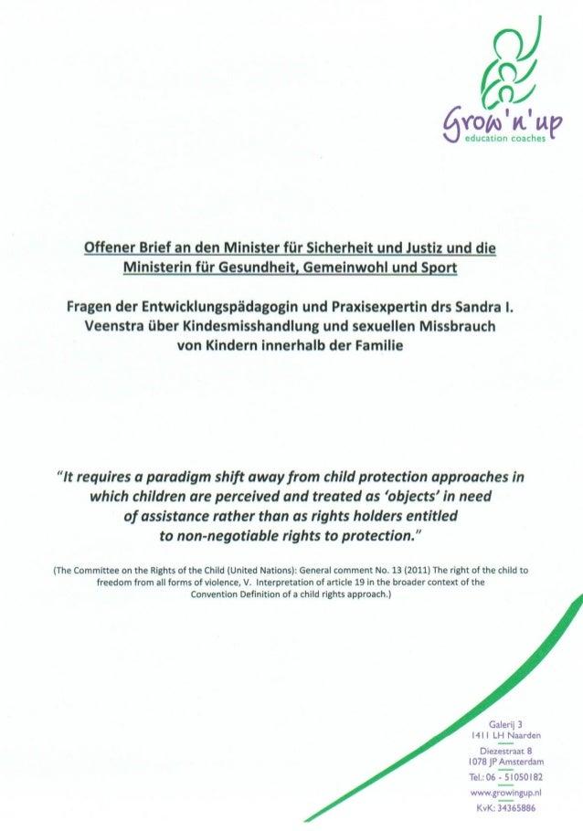 Offener Brief an den Minister für Sicherheit und Justiz und die Ministerin für Gesundheit, Gemeinwohl und Sport über Kinde...