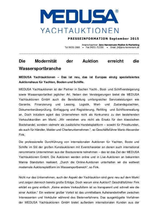 PRESSEINFORMATION September 2015 Ansprechpartner: Jens Hannemann Medien & Marketing Tel 04351-2668  Fax 04351-712330  Em...