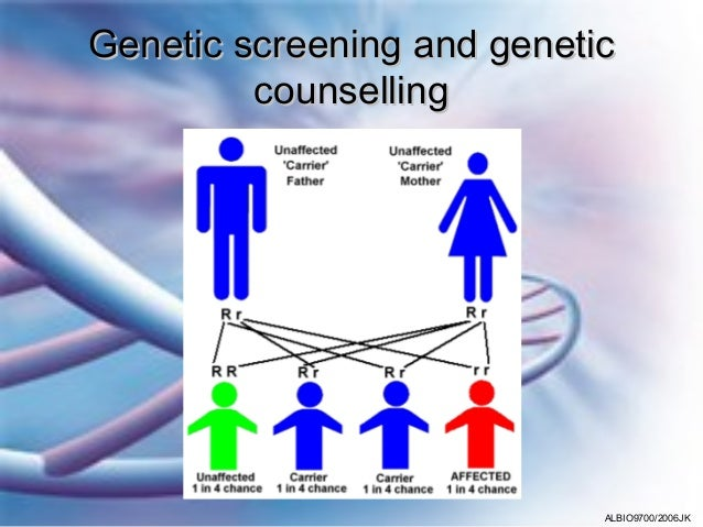 Genetic screening and genetic         counselling                            ALBIO9700/2006JK