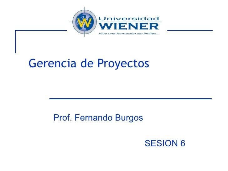 Gerencia de Proyectos Prof. Fernando Burgos SESION 6