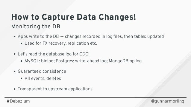 Change Data Streaming Patterns for Microservices With Debezium