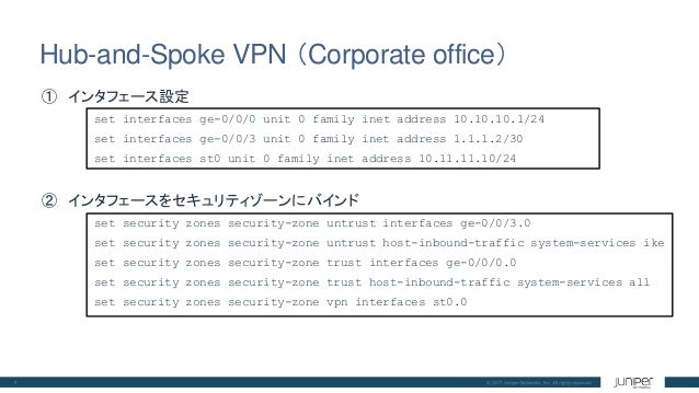 06 Hub-and-Spoke VPNのCLI設定 Juniper SRX日本語マニュアル