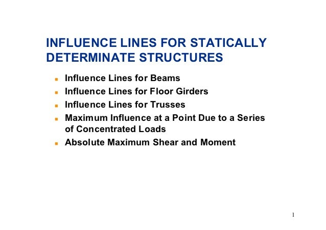 INFLUENCE LINES FOR STATICALLYDETERMINATE STRUCTURES !   Influence Lines for Beams !   Influence Lines for Floor Girders !...