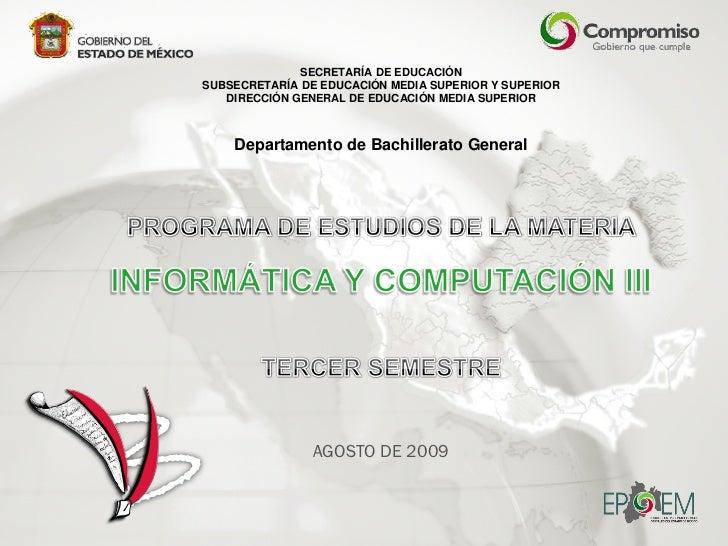SECRETARÍA DE EDUCACIÓN SUBSECRETARÍA DE EDUCACIÓN MEDIA SUPERIOR Y SUPERIOR    DIRECCIÓN GENERAL DE EDUCACIÓN MEDIA SUPER...