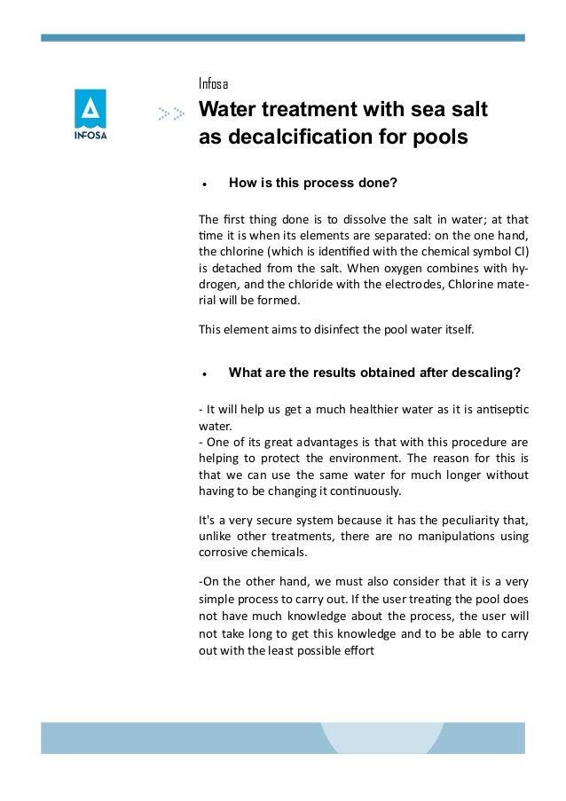 Water Treatment With Sea Salt Descaling Salt