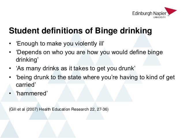Student definitions of Binge drinking • 'Enough to make you violently ill' • 'Depends on who you are how you would define ...