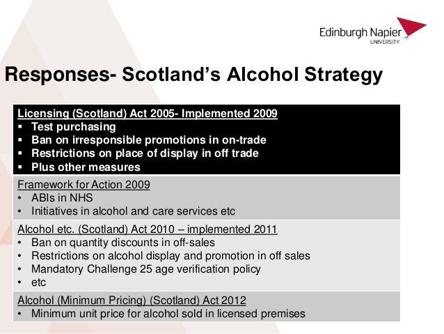 Responses- Scotland's Alcohol Strategy Licensing (Scotland) Act 2005- Implemented 2009  Test purchasing  Ban on irrespon...