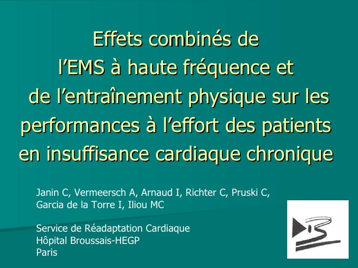 Effets combinés de  l'EMS à haute fréquence et  de l'entraînement physique sur les performances à l'effort des patients  e...