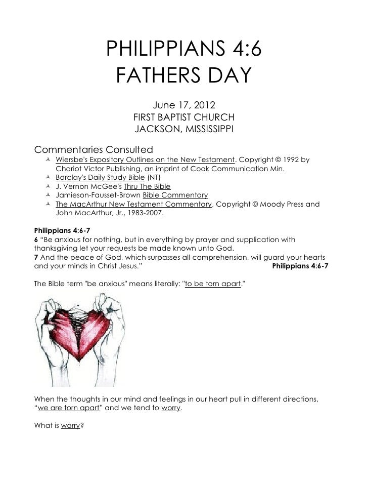 PHILIPPIANS 4:6                      FATHERS DAY                                  June 17, 2012                           ...