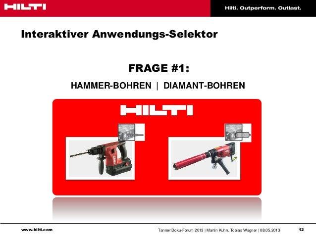 www.hilti.com Tanner Doku-Forum 2013   Martin Kuhn, Tobias Wagner   08.05.2013 12Interaktiver Anwendungs-SelektorFRAGE #1:...