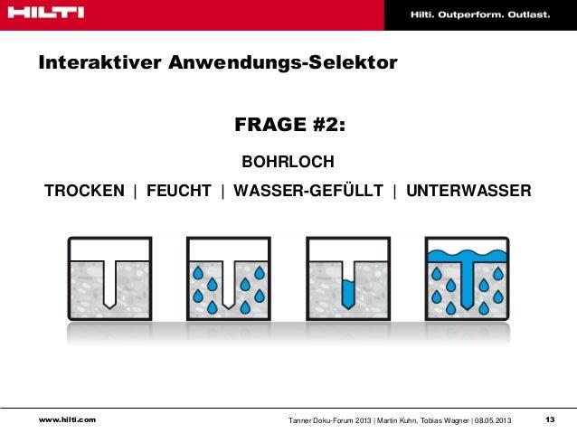 www.hilti.com Tanner Doku-Forum 2013   Martin Kuhn, Tobias Wagner   08.05.2013 13Interaktiver Anwendungs-SelektorFRAGE #2:...