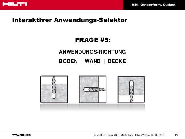 www.hilti.com Tanner Doku-Forum 2013   Martin Kuhn, Tobias Wagner   08.05.2013 16Interaktiver Anwendungs-SelektorFRAGE #5:...