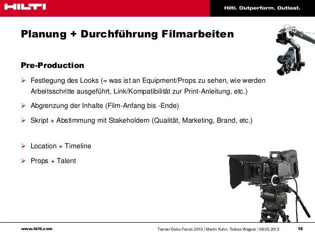 www.hilti.com Tanner Doku-Forum 2013   Martin Kuhn, Tobias Wagner   08.05.2013 18Planung + Durchführung FilmarbeitenPre-Pr...