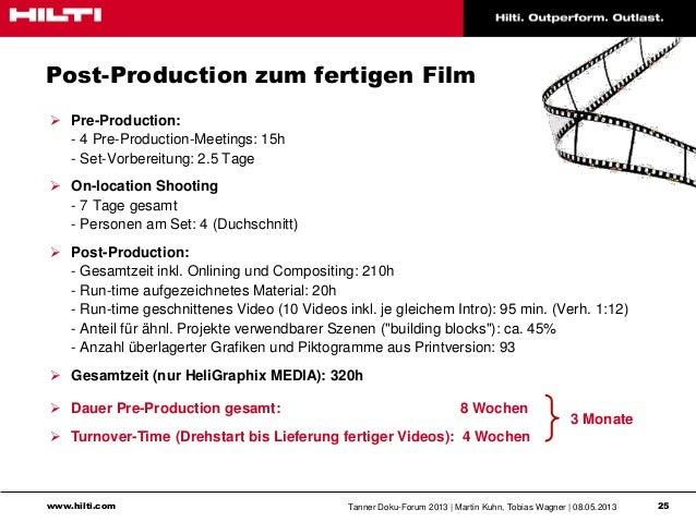 www.hilti.com Tanner Doku-Forum 2013   Martin Kuhn, Tobias Wagner   08.05.2013 25Post-Production zum fertigen Film Pre-Pr...