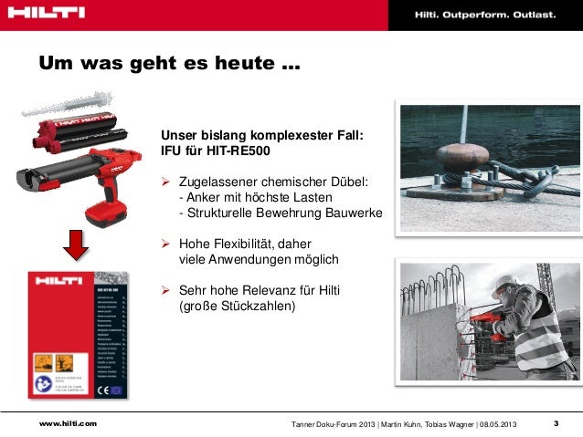 www.hilti.com Tanner Doku-Forum 2013   Martin Kuhn, Tobias Wagner   08.05.2013 3Um was geht es heute …Unser bislang komple...