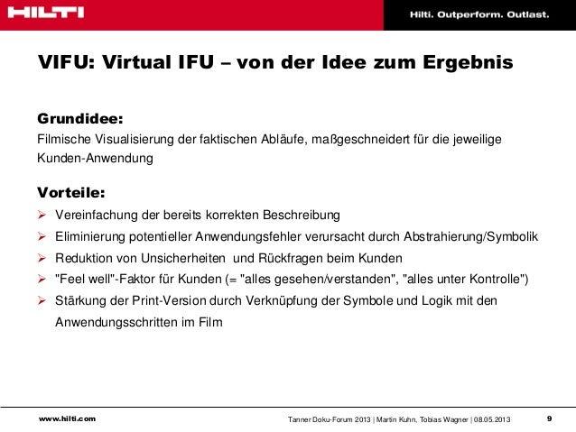 www.hilti.com Tanner Doku-Forum 2013   Martin Kuhn, Tobias Wagner   08.05.2013 9VIFU: Virtual IFU – von der Idee zum Ergeb...