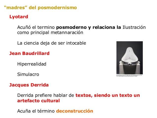 Hiperrealidad (simulacro)Ciego videnteMicronarrativas / MetanarrativasDeconstrucciónBaja cultura/alta culturaHermeneútica ...