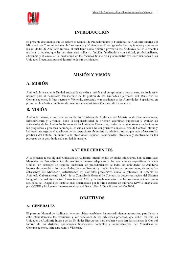 Manual de Funciones y Procedimientos de Auditoría Interna   1                                       INTRODUCCIÓNEl present...