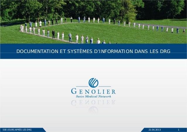 21.06.2013 1 DOCUMENTATION ET SYSTÈMES D'INFORMATION DANS LES DRG 500JOURS APRÈSLESDRG