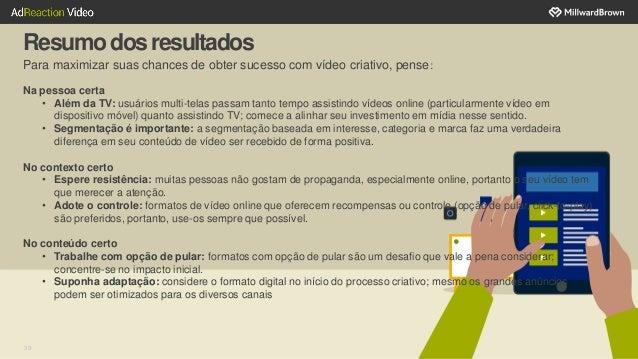 39 Resumodosresultados Para maximizar suas chances de obter sucesso com vídeo criativo, pense: Na pessoa certa • Além da T...