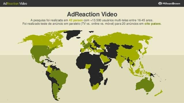 AdReaction Video A pesquisa foi realizada em 42 países com +13.500 usuários multi-telas entre 16-45 anos. Foi realizado te...