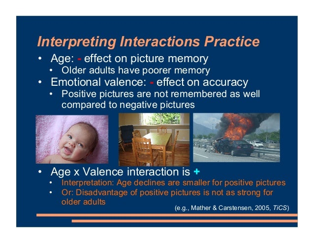 Interpreting Interactions Practice • Age: - effect on picture memory • Older adults have poorer memory • Emotional valence...