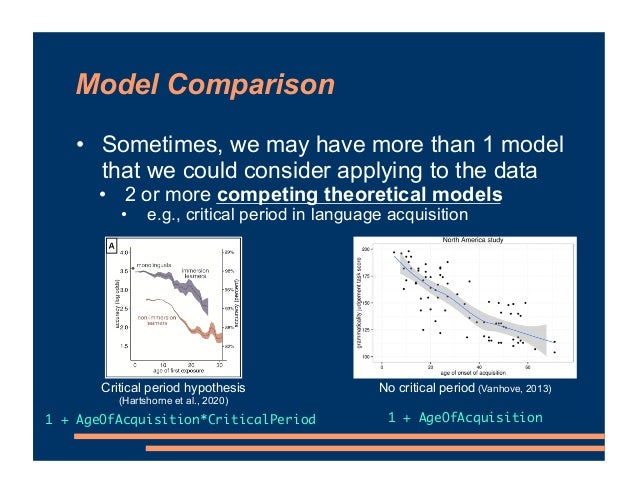 Model Comparison • Sometimes, we may have more than 1 model that we could consider applying to the data • 2 or more compet...