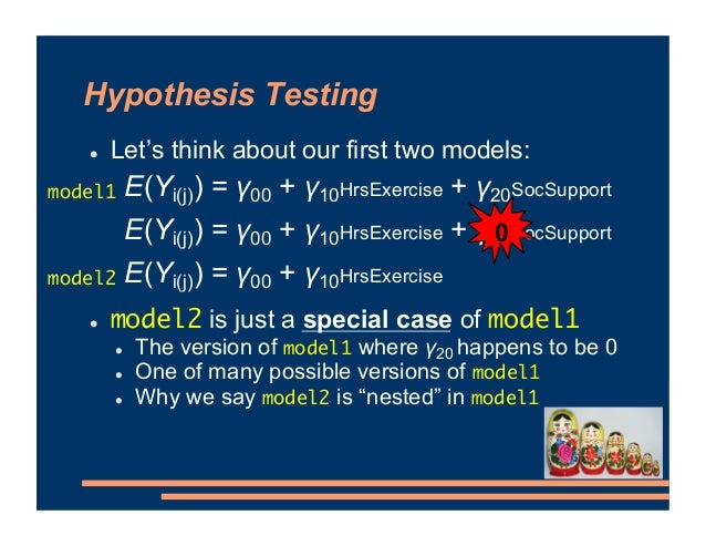 Hypothesis Testing ! Let's think about our first two models: ! model2 is just a special case of model1 ! The version of mo...