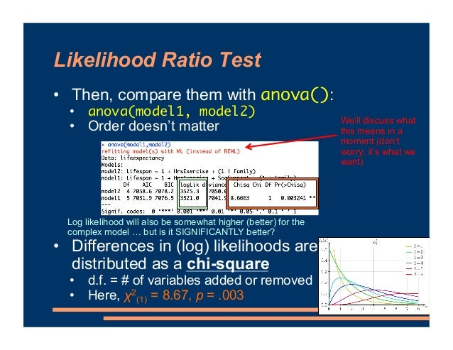 Likelihood Ratio Test • Then, compare them with anova(): • anova(model1, model2) • Order doesn't matter • Differences in (...