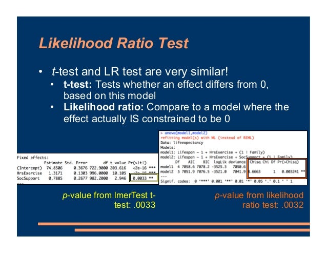 Likelihood Ratio Test • t-test and LR test are very similar! • t-test: Tests whether an effect differs from 0, based on th...