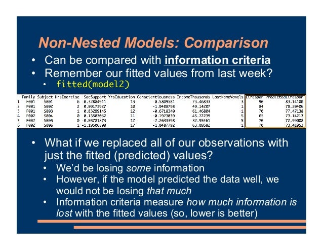 Non-Nested Models: Comparison • Can be compared with information criteria • Remember our fitted values from last week? • f...