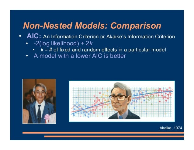 Non-Nested Models: Comparison • AIC: An Information Criterion or Akaike's Information Criterion • -2(log likelihood) + 2k ...