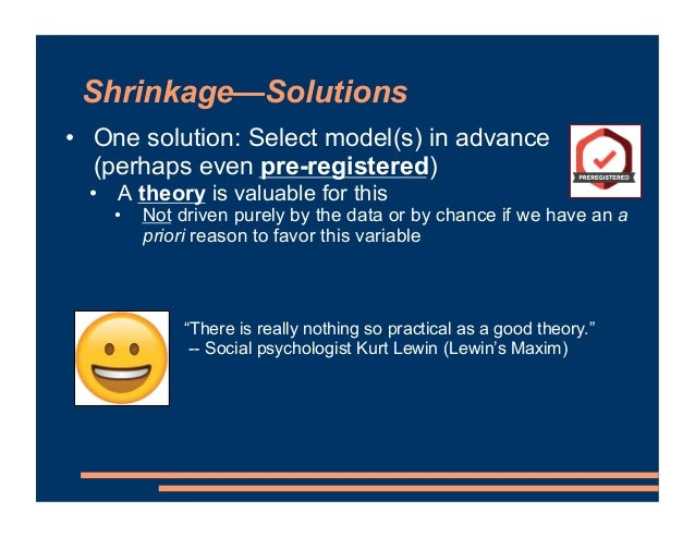 Shrinkage—Solutions • One solution: Select model(s) in advance (perhaps even pre-registered) • A theory is valuable for th...